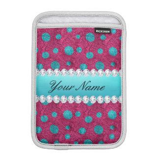 青い水玉模様のショッキングピンクののどのダイヤモンド iPad MINIスリーブ