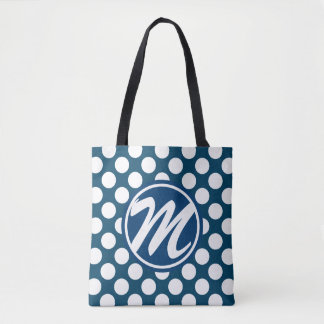 青い水玉模様のモノグラム トートバッグ
