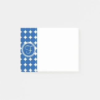 青い水玉模様のモノグラム ポストイット