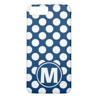 青い水玉模様のモノグラム iPhone 8 PLUS/7 PLUSケース