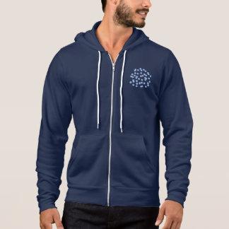 青い水玉模様の人の全ジッパーのフード付きスウェットシャツ パーカ