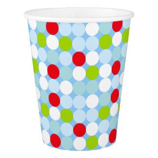 青い水玉模様の紙コップのカスタムの年齢 紙コップ