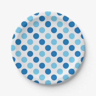 青い水玉模様パターン ペーパープレート
