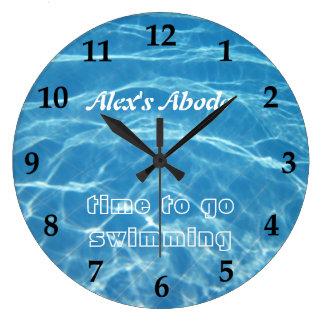 青い水生新しいプール水水泳のゆとりのカッコいい ラージ壁時計
