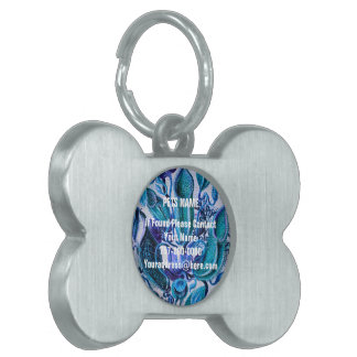 青い氷のヴィンテージの花 ペットネームタグ