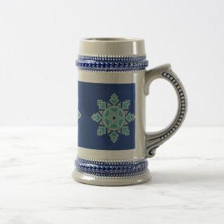 青い氷の花の雪片ステイン ビールジョッキ