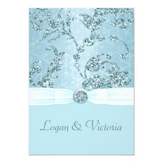 青い氷の輝きの不思議の国の結婚式 カード