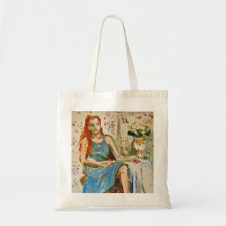 青い油絵の紙のトートバックの女性 トートバッグ