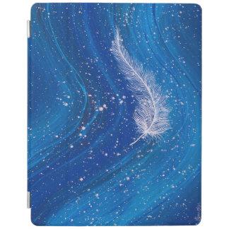 青い波の背景の絵画の白い羽 iPadスマートカバー
