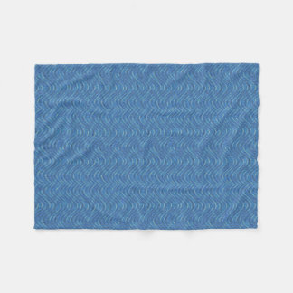 青い波パターン フリースブランケット