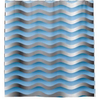 青い波 シャワーカーテン