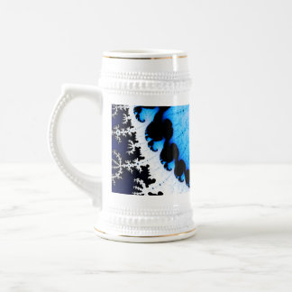 青い波-フラクタルの芸術 ビールジョッキ