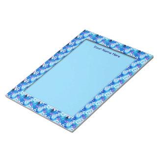 青い洗浄白の渦巻 ノートパッド