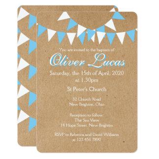 青い洗礼の《キリスト教》洗礼式や命名式の招待状をバントしている赤ん坊 カード