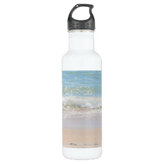 青い海および平和な波のビーチの写真撮影 ウォーターボトル