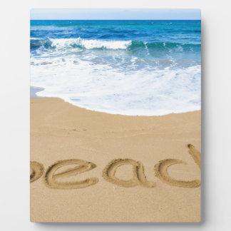 青い海が付いている砂海岸のビーチを言い表わして下さい フォトプラーク