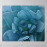 青い海のガラス花のプリント ポスター