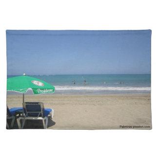 青い海の白い熱帯ビーチ ランチョンマット