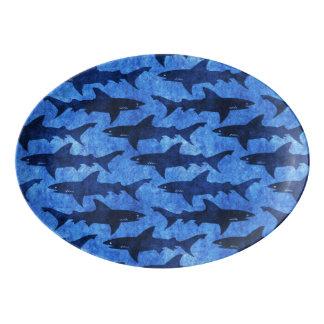 青い海の鮫の攻撃 磁器大皿