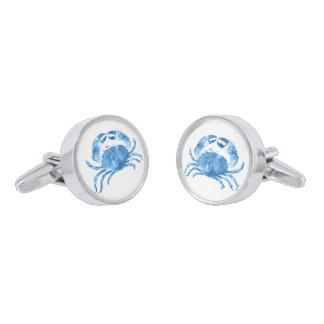 青い海カニの水彩画の絵 銀色 カフリンク