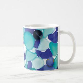 青い海ガラスおよび海の大理石のマグ コーヒーマグカップ
