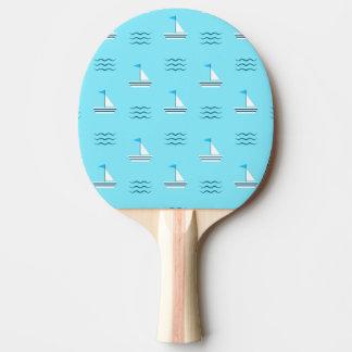 青い海パターンのヨット 卓球ラケット