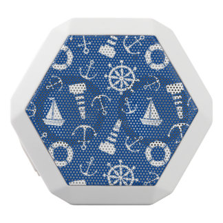 青い海パターン ホワイトBluetoothスピーカー