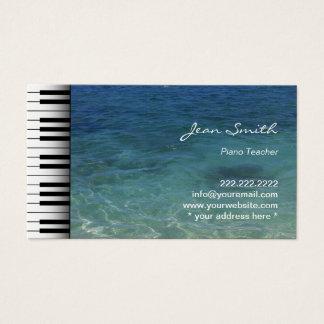 青い海水音楽ピアノの教師をきれいにして下さい 名刺