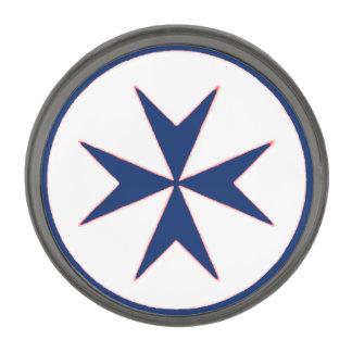 青い海賊のスタイルの八角形の十字 ガンメタルラペルピン
