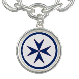 青い海賊のスタイルの八角形の十字 チャームブレスレット