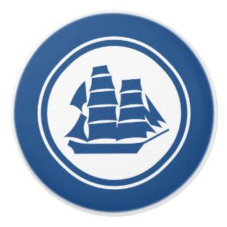 青い海賊船のブリッグの航海のな陶磁器のノブ セラミックノブ