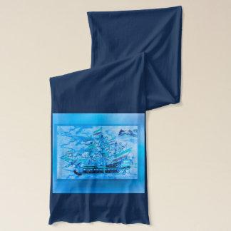 青い海賊船の航海のな海洋波 スカーフ