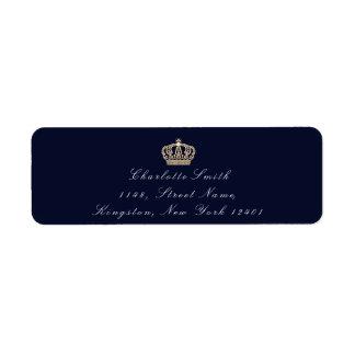 青い海軍セピア色RSVPの王冠のエレガントな花嫁のフォーマル ラベル