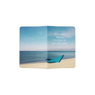 青い海、青いボートの名前入りなパスポートカバー パスポートカバー