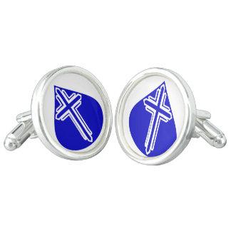 青い涙の白の十字 カフリンク