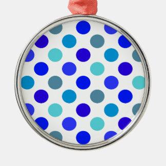 青い混合された水玉模様 メタルオーナメント