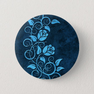 青い渦巻く石造りのバラ 5.7CM 丸型バッジ
