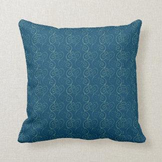 青い渦巻のデザイン クッション