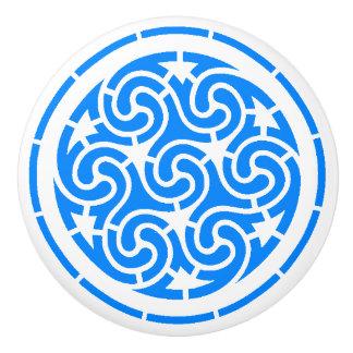 青い渦巻のモチーフ セラミックノブ
