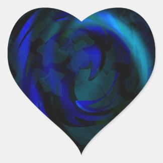 青い渦巻 ハートシール