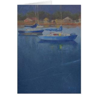 青い港のヨット カード