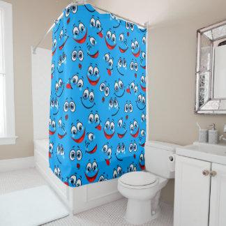 青い漫画の顔パターン シャワーカーテン