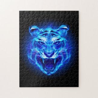 青い火のトラの顔のパズル ジグソーパズル