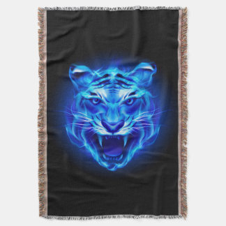 青い火のトラの顔のブランケット スローブランケット