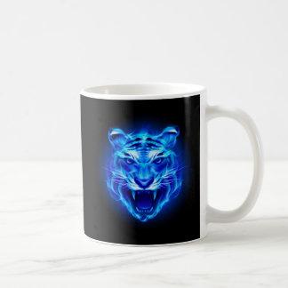 青い火のトラの顔の基本的な白いマグ コーヒーマグカップ