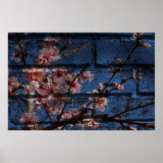 青い煉瓦および花ポスター ポスター