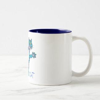 青い熱狂するな猫熱狂するな   猫 ツートーンマグカップ