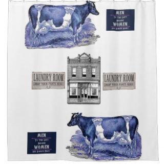 青い牛白のshowercurtain シャワーカーテン