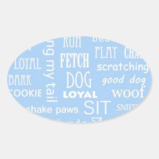 青い犬の恋人のことわざ 楕円形シール