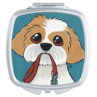 青い犬の絵のシーズー(犬)のTzuの子犬